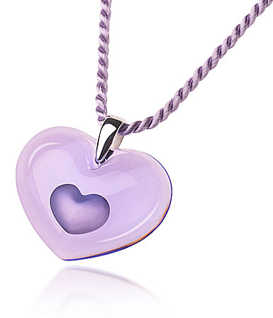 Lalique Tender Heart Silver Mauve Necklace