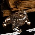Lalique Gregoire Frog Sculpture, Gold Lustre