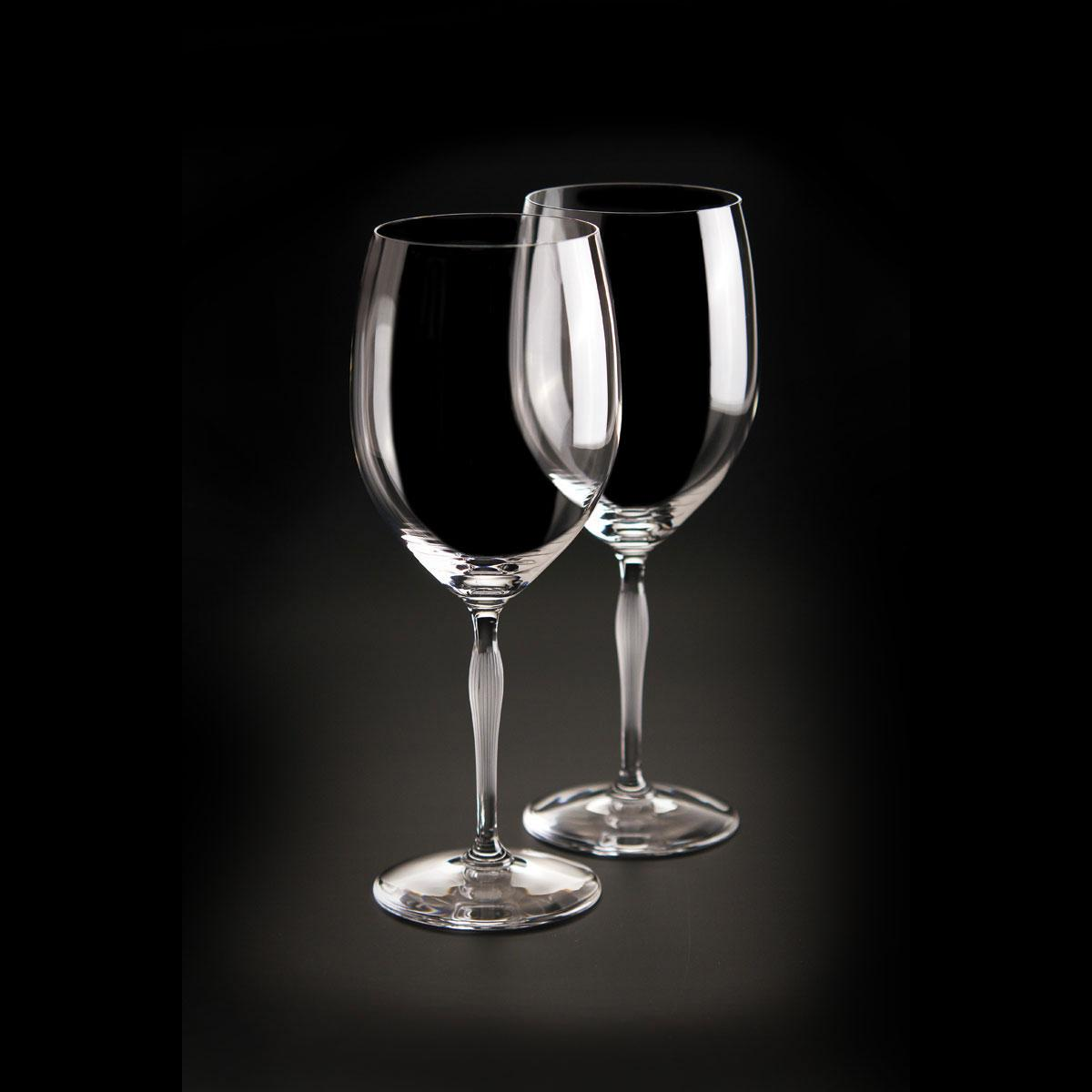 Lalique Crystal, 100 Points Bordeaux Crystal Glasses By James Suckling, Pair