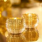 Baccarat Crystal, Eye Votive Gold, Boxed Pair