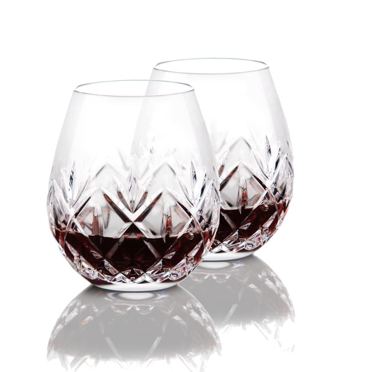 Waterford Crystal, Huntley Stemless Crystal Red Wine Glasses, Pair