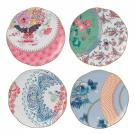 Wedgwood China Butterfly Bloom Tea Story Plates, Set of Four