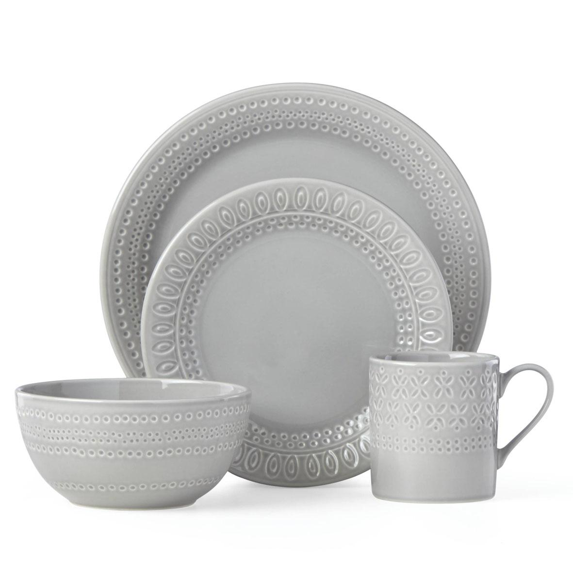 kate spade new york Lenox Stoneware Willow Drive Grey 4pc Place Setting