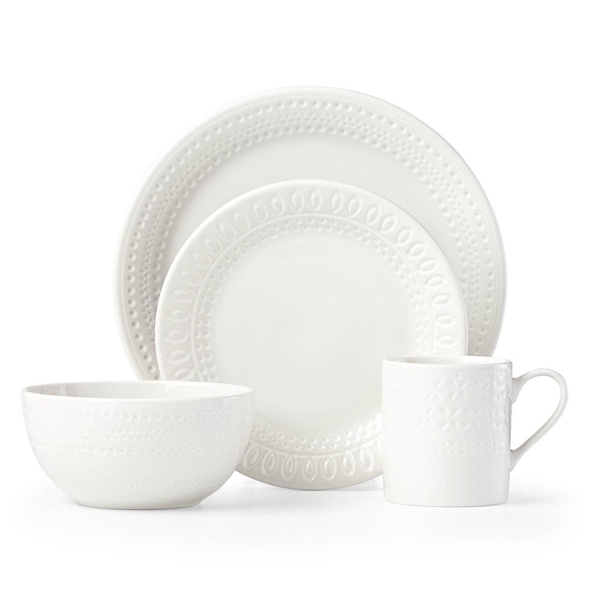 kate spade new york Lenox Stoneware Willow Drive Cream 4pc Place Setting