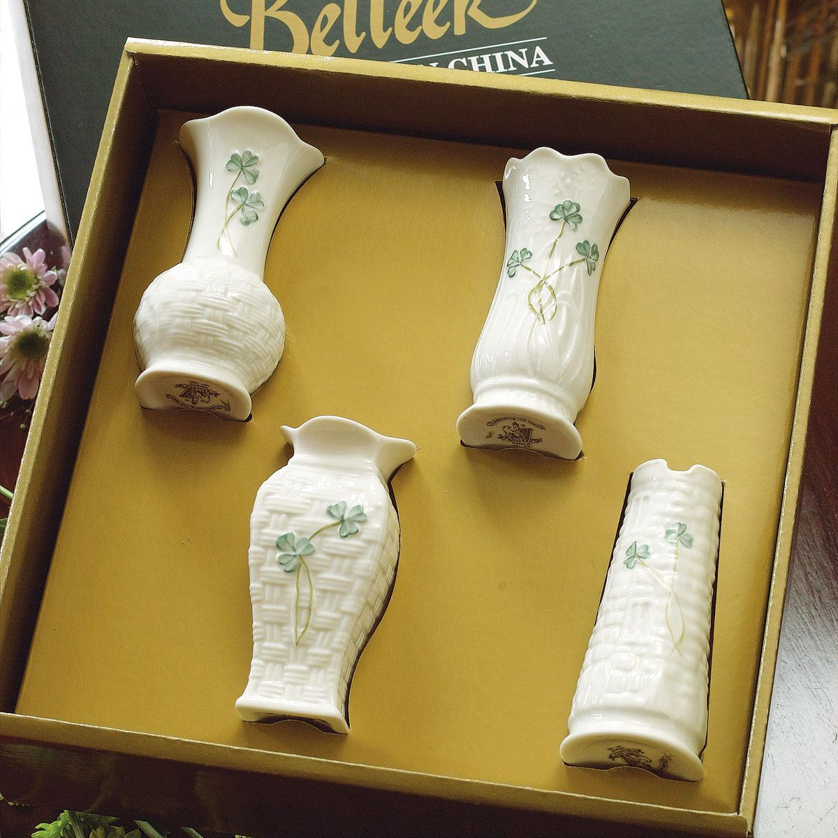 Belleek China Shamrock Mini Vases, Set of Four