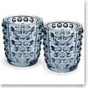 Lalique Mossi Votives Blue Luster, Pair