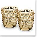 Lalique Mossi Gold Luster Votives, Pair