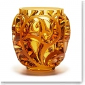 "Lalique Tourbillons 8 1/8"" Amber Crystal Vase, Limited Edition"