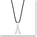 Lalique Crystal Tour Eiffel Pendant Necklace, Silver