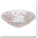 Lalique Zodiac Rooster Bowl, Clear And Gold Stamped, Limited Edition Of 888 Pieces