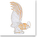 Lalique Bantam Zodiac Rooster Sculpture, Clear And Gold Stamped