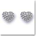Swarovski Rhodium And Crystal Pave Heart Button Pierced Earrings