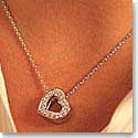 Swarovski Rhodium and Crystal Open Pave Heart Pendant Necklace