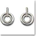 Swarovski Rhodium And Crystal Pave Circles Drop Pierced Earrings
