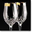 Waterford Lismore Essence Wide Golden Band Wine, Pair