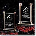 "Crystal Blanc 7.75"" Vertical Brass Column Award"