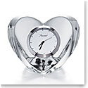 "Baccarat Heart Clear Clock 2 3/8"" H x 3 3/8"" W"