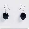 Baccarat Tentation Earrings, Sterling Silver, Mini, Onyx Crystal, Wire Setting