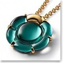Baccarat B Flower Large Necklace, Green Mordore and Vermeil