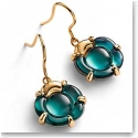 Baccarat B Flower Wire Earrings, Green Mordore and Vermeil