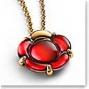 Baccarat B Flower Small Necklace, Red Mirror and Vermeil