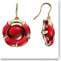 Baccarat B Flower Wire Earrings, Red Mirror and Vermeil