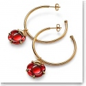 Baccarat B Flower Hoop Earrings, Red Mirror and Vermeil