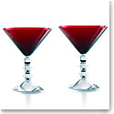 Baccarat Vega Martini Red Glasses, Pair