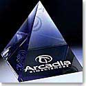 Crystal Blanc Optic Pyramid Paperweight 3""