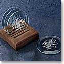 Crystal Blanc Coaster Set 4 Coasters With Walnut Caddy