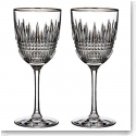 Waterford Lismore Diamond Platinum Wine, Pair