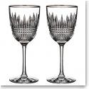 Waterford Lismore Diamond Platinum Wine, Pair