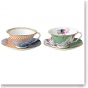 Wedgwood China Butterfly Bloom Teacup and Saucer, Blue Peony and Butterfly Posy
