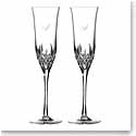 Waterford Lismore Essence Toasting Flute Pair, Monogram Script A