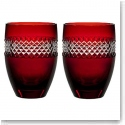 Waterford John Rocha Red Cut Tumbler, Pair