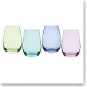 Marquis By Waterford Vintage Ombre Stemless Wine, Set of Four (Bright Green, Aqua, Blue, Purple)