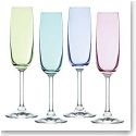 Marquis By Waterford Vintage Ombre Flutes, Set of Four (Bright Green, Aqua, Blue, Purple)