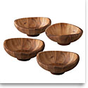 Nambe Wood Butterfly Individual Salad Bowls, Set of 4, 8 1/2in D