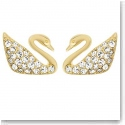Swarovski Swan Crystal and Gold Mini Pierced Earrings