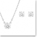 Swarovski Attract Round Rhodium Pendant Necklace and Pierced Earrings Set