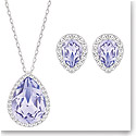Swarovski Christie Lavender and Rhodium Pendant Necklace and Pierced Earrings Set
