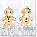 Swarovski Crystal, Gingerbread Couple Crystal Ornament Set