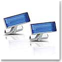 Lalique Cufflinks Pair, Prisme, Blue and Silver