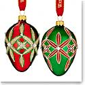 Waterford 2016 Holiday Heirloom Nostalgic Collection Lismore Egg Ornaments, Set of 2