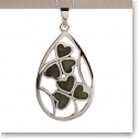 Cashs Sterling Silver and Connemara Marble Lucky Shamrocks Pendant Necklace