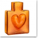 "Kosta Boda Because Orange Heart 4"" Vase"