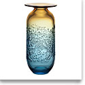 Kosta Boda Aurora Blue and Amber Large Vase