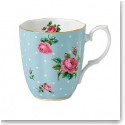 Royal Albert China New Country Roses Polka Blue Vintage Mug, Single