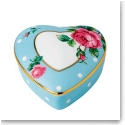 Royal Albert China New Country Roses Small Heart Box, Polka Blue