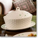 Belleek China Shamrock Oval Covered Dish